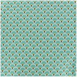 Tissu coton crétonne enduit Eventail - turquoise x 10cm