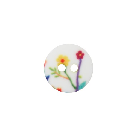 12 mm Polyester Button - White Flowered Field
