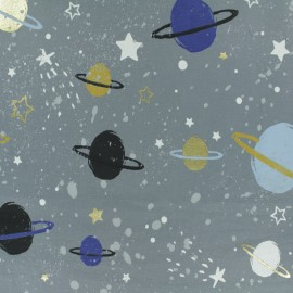 JERSEY FABRIC - grey Space Planet x 30CM