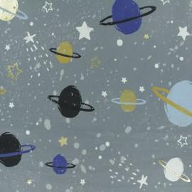 Tissu Jersey Space planet - gris x 30cm