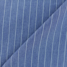 Striped cotton chambray fabric - denim blue x 10cm