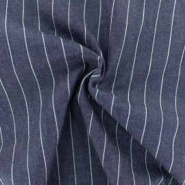 Striped cotton chambray fabric - dark blue x 10cm