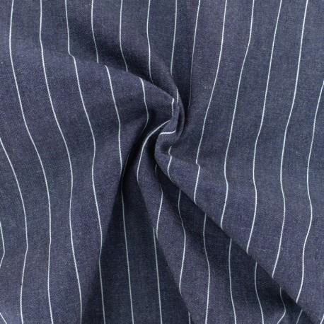 Striped cotton chambray fabric - denim blue x 10cm