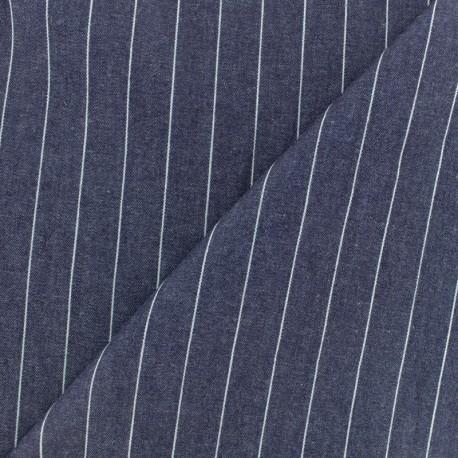 Tissu coton chambray rayé Aspect jean - bleu denim x 10cm