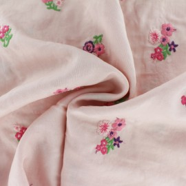 Embroidered Viscose fabric - light pink June x 10cm