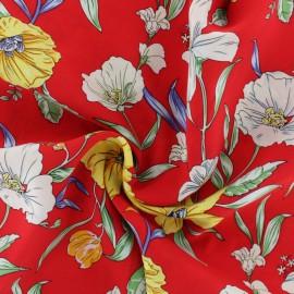Flowery Viscose fabric - Red Moana x 10cm