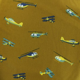 Cotton poplin fabric Poppy - Ochre Aviation x 10cm