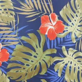 Tissu déperlant souple Hawaï - bleu x 10cm