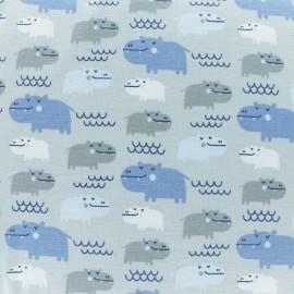 Tissu jersey Hippo - gris/bleu x 10cm