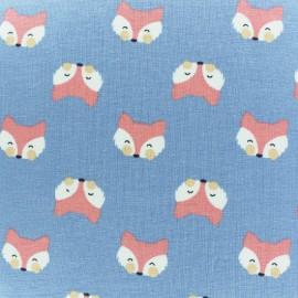 Cotton jersey fabric - blue Joli renard x 10cm