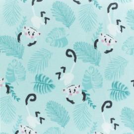 Cotton jersey fabric - Aqua blue Alma & Nacho Monkey x 10cm