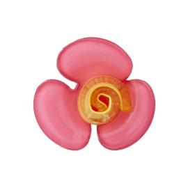 Bouton Polyester Aspect Verre Flora - Fuchsia