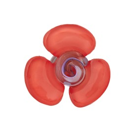 Bouton Polyester Aspect Verre Flora - Corail