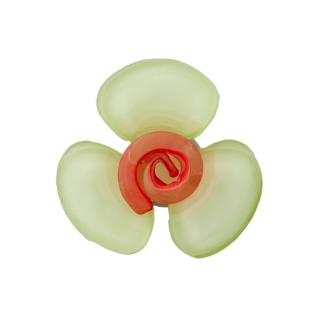 Glass Aspect Polyester Button - Jade Green Flora