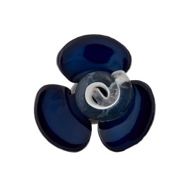 Bouton Polyester Aspect Verre Flora - Bleu Nuit