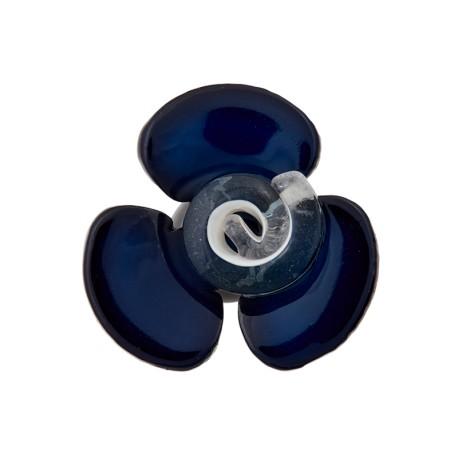 Glass Aspect Polyester Button - Midnight Blue Flora