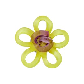 Bouton Polyester Aspect Verre Lola - Jaune
