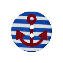 Striped Polyester Button - Blue Marinos