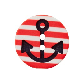 Striped Polyester Button - Red Marinos
