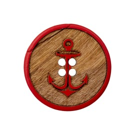 Bouton Bois Tradition Ancre - Rouge