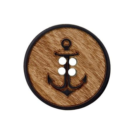 Wooden Button - Black Anchor Tradition