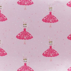 Cotton jersey fabric - Pink rabbit ballerina x 10cm