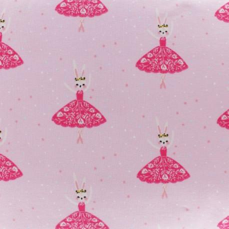 Tissu jersey lapine ballerine - rose x 10cm