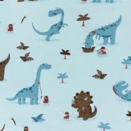 Tissu jersey Domestic Dino - bleu clair x 10cm