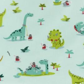 Tissu jersey Domestic Dino - vert clair x 10cm