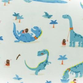 Tissu jersey Domestic Dino - écru x 10cm