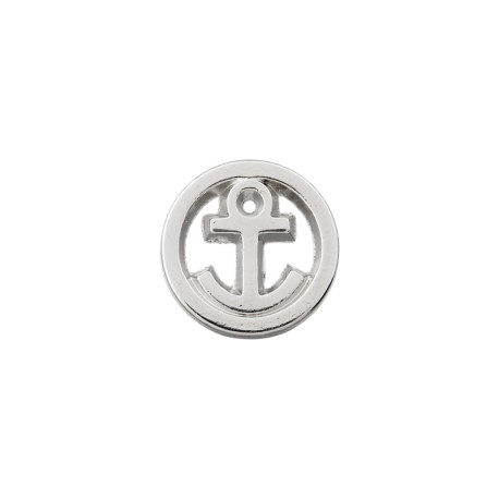 10 mm Metal Button - Silver Little Anchor