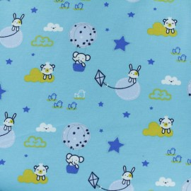 Tissu jersey Tobby en montgolfière - bleu x 10cm
