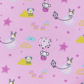 ♥ Coupon 130 cm X 150 cm ♥ Cotton jersey fabric - pink Tobby in Air balloon