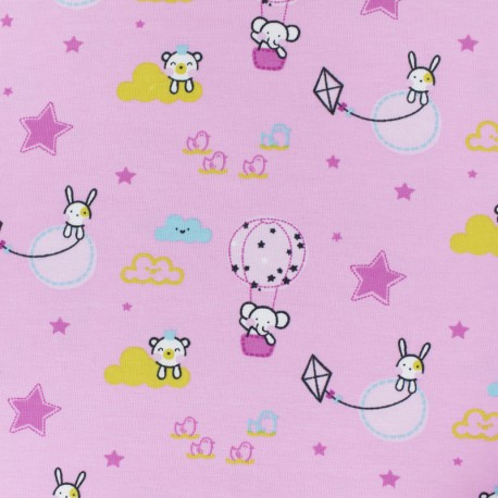 Cotton jersey fabric - pink Tobby in Air balloon x 10cm