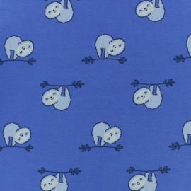Tissu jersey Jazzy le paresseux - bleu x 10cm