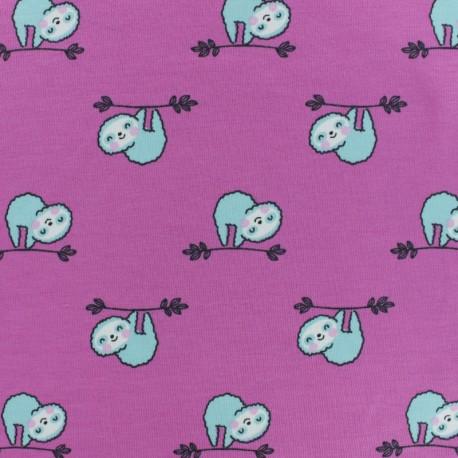 Tissu jersey Jazzy le paresseux - rose x 10cm