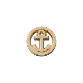 10 mm Metal Button - Gold Little Anchor