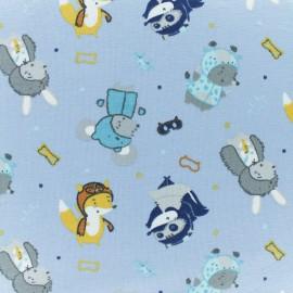 Tissu jersey Les petits Aventuriers - bleu x 10cm