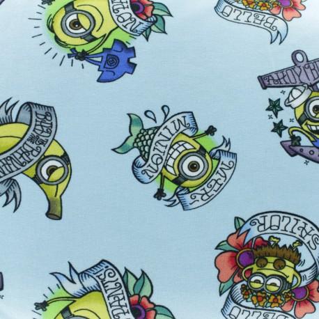 Cotton jersey fabric - Blue Tattoo Minions x 10cm