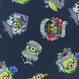 Cotton jersey fabric - Navy Blue Tattoo Minions x 10cm