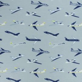 Tissu jersey avions - gris x 10cm