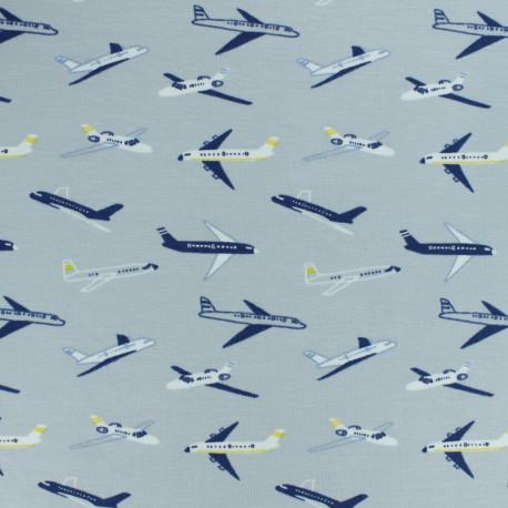 Cotton jersey fabric - light grey Planes x 10cm