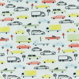 Cotton jersey fabric - White Traffic x 10cm