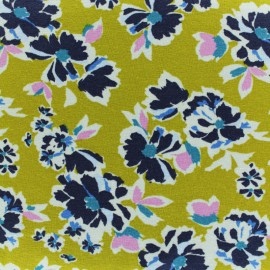 Tissu jersey fleuri Annaelle - ocre x 10cm