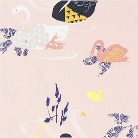Coated cotton fabric Rico Design Okina Hana - pink Swan x 25cm