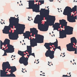 Cotton fabric Rico Design Okina Hana - pink Flower x 10cm
