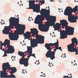 Tissu coton Rico Design Okina Hana fleur - rose x 10cm