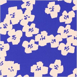 Cotton fabric Rico Design Okina Hana - blue Flower x 10cm