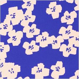 Tissu coton Rico Design Okina Hana fleur - bleu x 10cm