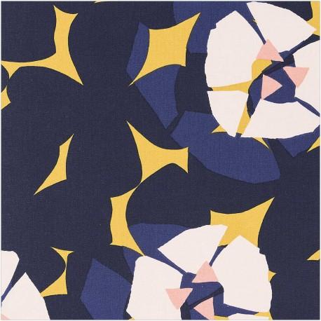 Cotton fabric Rico Design Okina Hana - yellow Flowers x 25cm